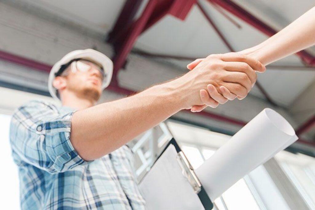 Contractor shaking hands
