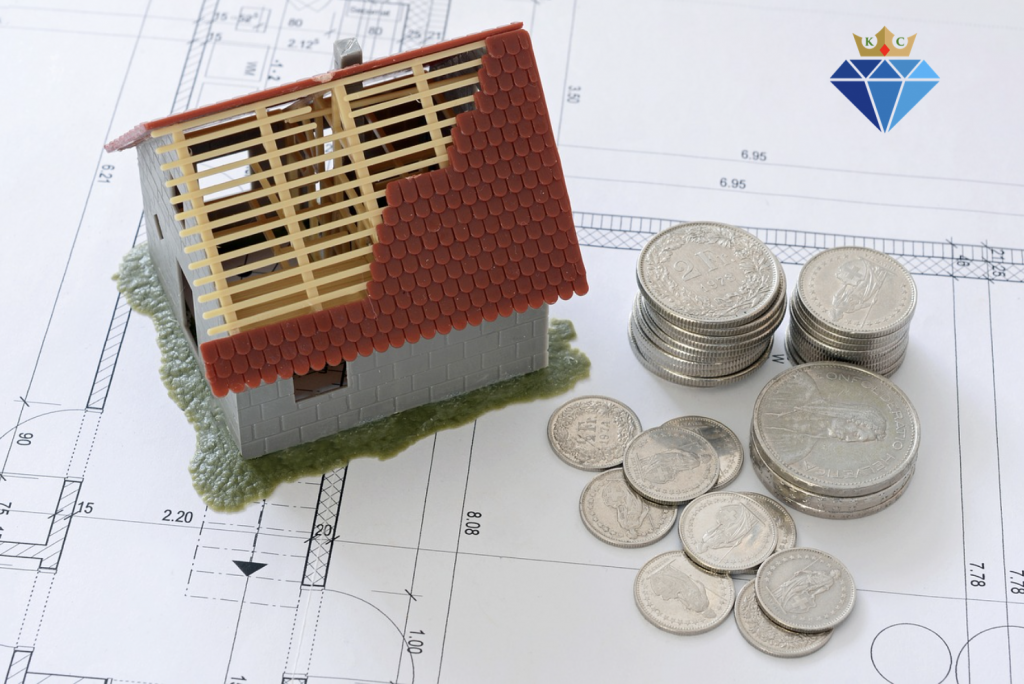 Model house with coins